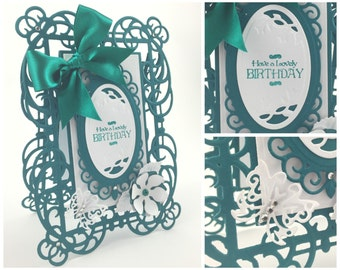 """Delicate Birthday Card / Handmade Luxury / 5"""" x 7"""" / Customisable / Boxed Version Available / Choice of Colours / Made to Order"""