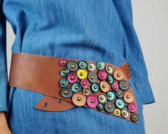 Wide Leather Belt Asymmetrical/ Cognac Brown Leather Belt with Rosettes & Rivets/Medium Brown Wide Leather Belt/Wide Brown Hip Belt–KbeltEL8
