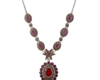 Authentic Ottoman style sterling silver necklace ZB6008