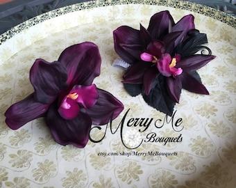 Corsage Set - Boutonniere Set - Orchid Corsage - Orchid Boutonniere - Orchid Buttonhole - Deep Purple Corsage Set - Dark Purple Corsage Set
