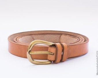 Handmade ladies leather belt (2cm) made of full grain vegetable tanned vachetta leather and a solid brass buckle