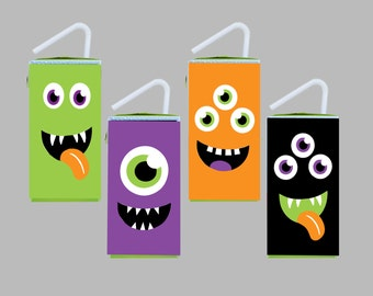 Halloween Monster Juice Box Wrappers. Instant Digital Download. 4 Color Choices. Perfect for Halloween Monster Bash, Class Party.