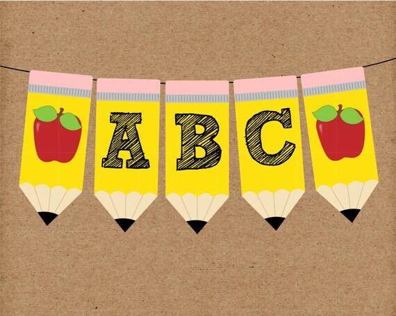 Classroom Decor Pencil Banner ~ Back to school pencil banner full alphabet instant digital
