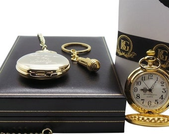 Oasis Signed Noel Gallagher 24k Gold Clad Pocket Watch and Microphone Keyring Keychain Luxury Gift Case Limited Edition with Certificate