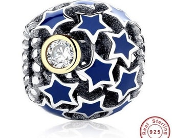 Deep Night Sky Blue Star Charm fit Pandora ,Pandora Charm, Pandora Bracelet, Pandora Beads, First Anniversary Gift for Her, Gift Ideas