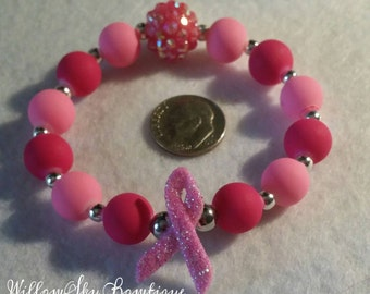 Breast Cancer Awareness ribbon stretch bracelet