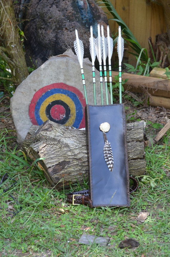Archery quiver, leather back quiver, unique square shaped leather quiver