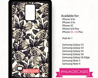 Cute Note 3 Case Vintage Floral Galaxy S4 Roses Pattern Cover Floral Note 4 Case Black Roses Galaxy S6 Case Galaxy S6 Edge Case Dark Floral