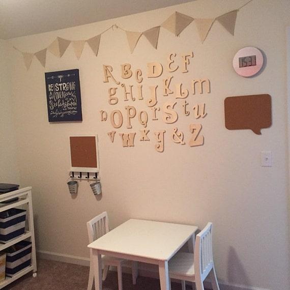 Wall decoration letters nursery : Nursery letters wooden alphabet set wall decor