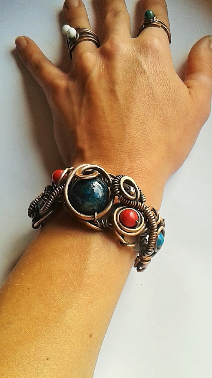 wire braceletshandmade copper wire bracelet with natural
