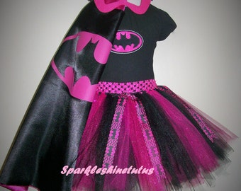 BATGIRL Inspired Handmade Tutu Set Costume Pink and Black or Yellow and Black.