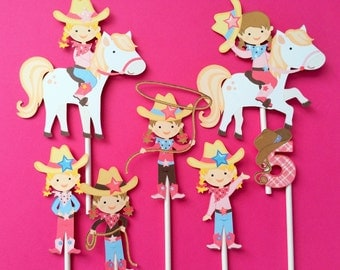 Cowgirl cupcake toppers, cowgirl birthday cupcake toppers, cowgirl party, birthday party cowgirl, cowgirl theme, cowgirl cake topper