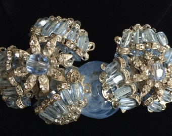 Dazzling Vintage Miriam Haskell Brooch Pin~Blue Art Glass/Crystals/Beads/Clear Rhinestones/Silver Tone Filigree~Signed