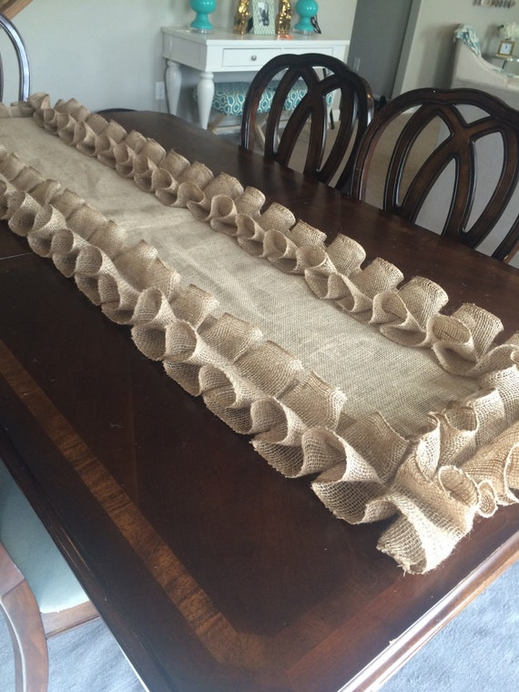 Burlap ruffled table runner thanksgiving table by - Chemin de table chic ...