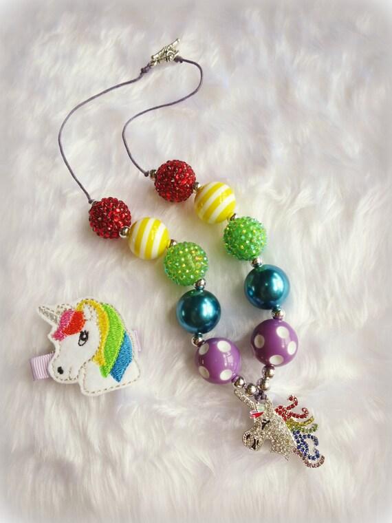 Rainbow Unicorn Bubblegum Necklace and Hairclip Set