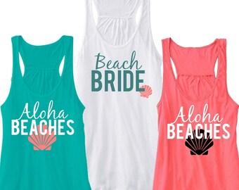 Beach BRIDE or Aloha BEACHES Flowy Racerback Tank, Bachelorette Party Tank, Bride Tank, Bridesmaid Tank, Beach Tank