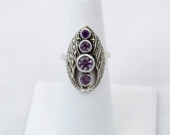 Four Stone Amethyst Ring set in Silver w/Marcasite Accents Size 6