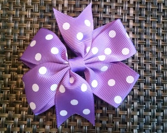 Purple Polka Dotted Pinwheel Bow