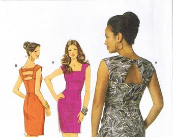 Easy Close Fit Sleeveless Straight Dress with Back Detail Butterick 5601 Sewing Pattern Plus Size 14 16 18 20