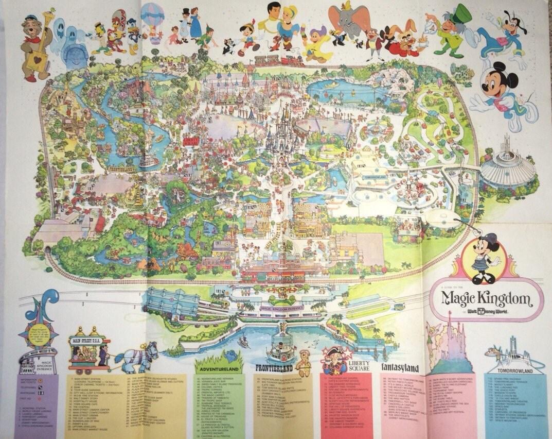 1979 Magic Kingdom Wall Map Large 37 x 31 Walt Disney World