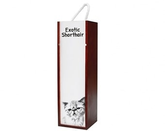 Exotic Shorthair - Wine box with an image of a cat.