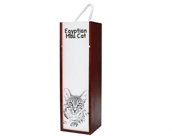 Egyptian Mau - Wine box with an image of a cat.