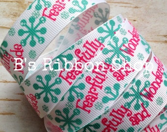 """7/8"""" Fearfully and Wonderfully Made USDR 1 yard grosgrain ribbon with glitter"""