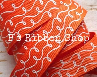 """7/8"""" White Glitter Doodles on Russet Orange USDR 1 yard grosgrain ribbon fall autumn"""