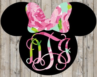 Lilly Pulitzer {inspired} Minnie Mouse Head Monogram Decal