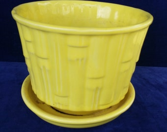 Mid-Century Yellow Bamboo McCoy #0375 Planter