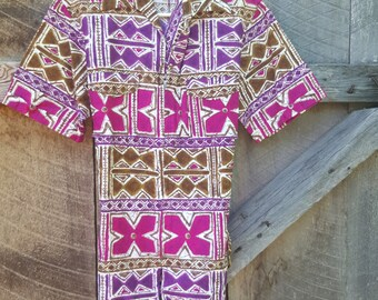 Vintage Ka Lani barkcloth Hawaiian zippered shirt great condition