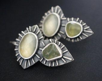 Green gemstone statement earrings, prehnite earrings, green, blue, silver earrings, art jewellery, contemporary, handmade, unique jewellery