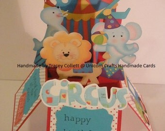 Handmade Pop Up 3D box card - Circus theme Birthday Card - any age or name added