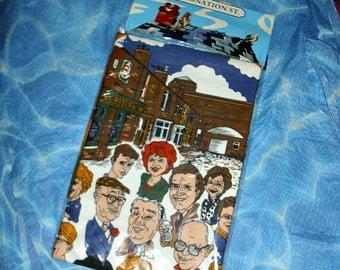 Coronation Street Cotton Apron Soap Memorabilia Vintage Collectable Caricature Characters Weatherfield Granada Television Corrie British