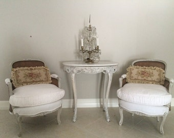 French Chairs~Antique Bergere, Double Cane, Linen