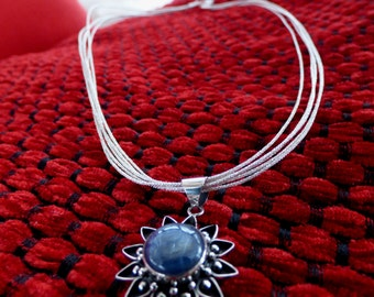Silver 925 Kyanite Stone Pendant with Silk Necklace