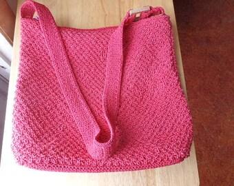 Liz Claiborne purse/pocketbook Red Crochet In very good shape Woven Pocketbook/Purse