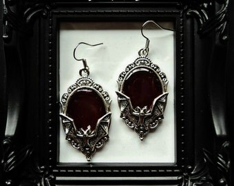 Bloodred Gothic Bats Frame Earrings