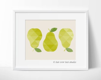 "Fall Printable Art: ""GEOMETRIC PEARS PRINT"" in Shades of Green and Yellow for Autumn, Kitchen Art"
