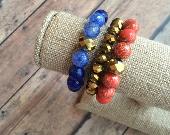 stretch bracelet set   gameday jewelry   florida gators   UF   orange and blue