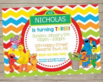 Sesame Street Birthday Invitation ~ Elmo Oscar ~ Personalized ~ Digital Print Yourself ~ Elmo Birthday Party ~ Big Bird Birthday Party