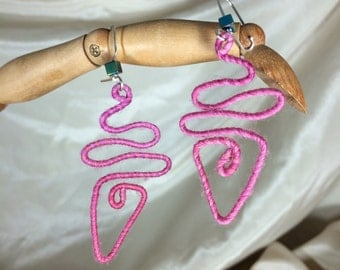 Pink Hieroglyphic Merino Wool and Glass Earrings