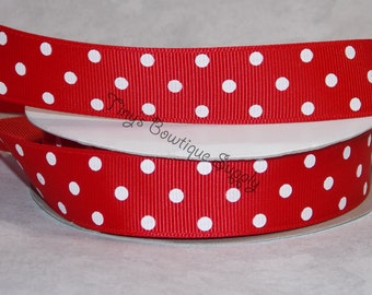 Ready to ship 7/8 red and white polka dot ribbon