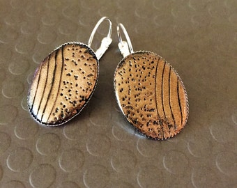 Clay tile Antique gold Oval leverback earrings