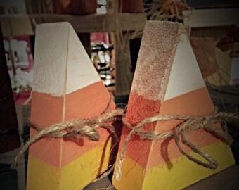 Candy corn. Set of 3. Fall decor.  Wooden fall decorations. Autumn decorations. Halloween decor. Halloween decorations. Rustic fall decor