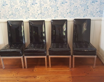 Set of 4 Mid Century Modern Patent Leather & Aluminum Dining Chairs 1970's