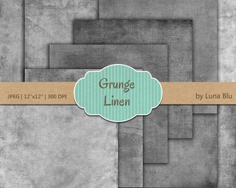 "Grunge Digital Paper Pack: ""Grunge Linen Textures"" Gray Grunge Backgrounds with grunge textures, gray digital paper"