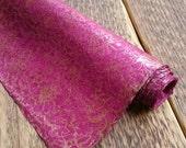 Floral Gift Wrap - Magenta & Copper. Hand Made Lokta Paper. 75 x 50cm.