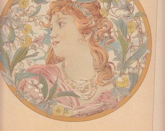 """Beautiful Art Nouveau Woman Encircled W Flowers-Ethereal,1911 Le Journal de la Decoration Paris/10.5"""" X 14.5"""""""