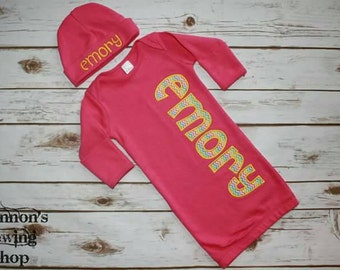 Hot Pink Baby Gown w/ Applique name and Matching Hat